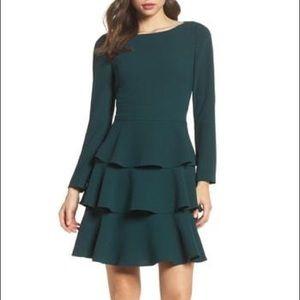 Eliza J Emerald Ruffle Dress